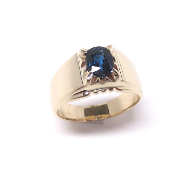 サファイア・オーバルミックスカット付き、K18(18金)幅広リング(指輪)カレッジリングタイプ斜め横画像
