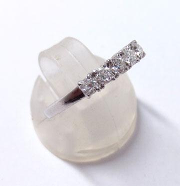 プラチナ900製ダイヤ一文字リングの下半分を作り換えた完成横からの画像