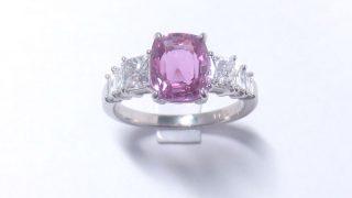 ピンクサファイヤリング・角ダイヤ付きプラチナ900製デラックス枠5