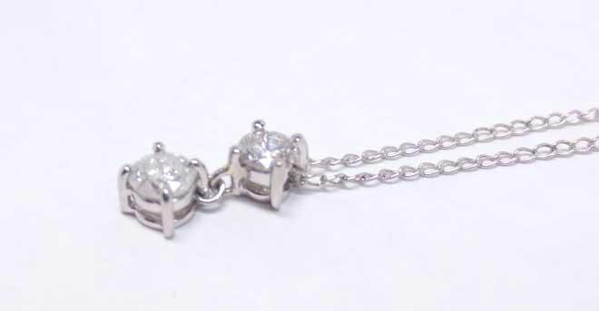 祖母と母のダイヤを合わせて完成した、プラチナダイヤペンダント完成品画像3