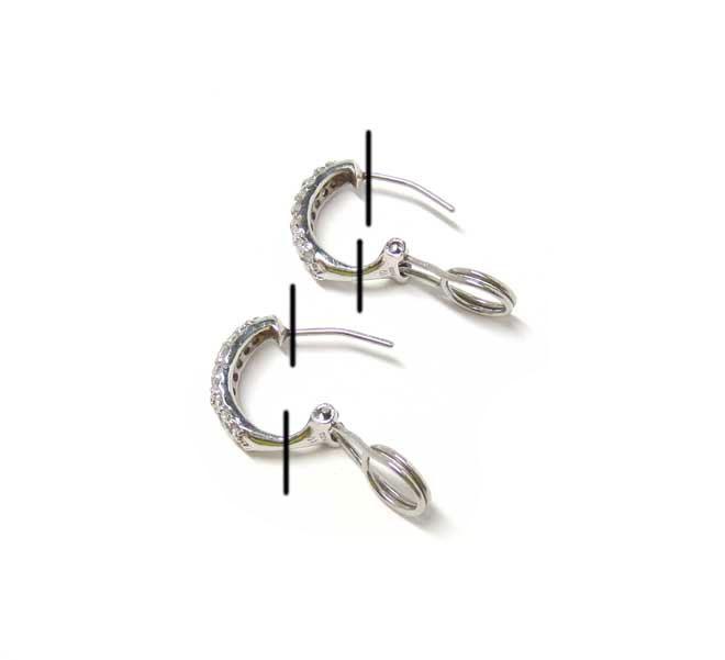プラチナ製ダイヤピアスの切断部分画像